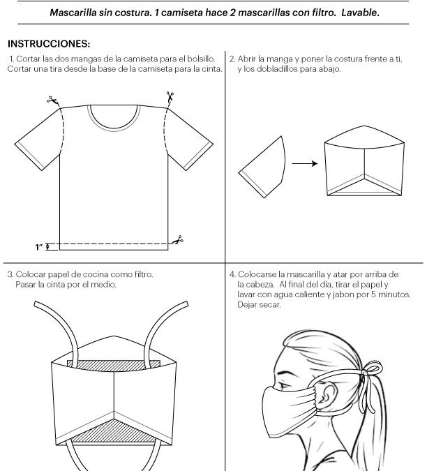 No-sew T-shirt mask pattern in English and Spanish